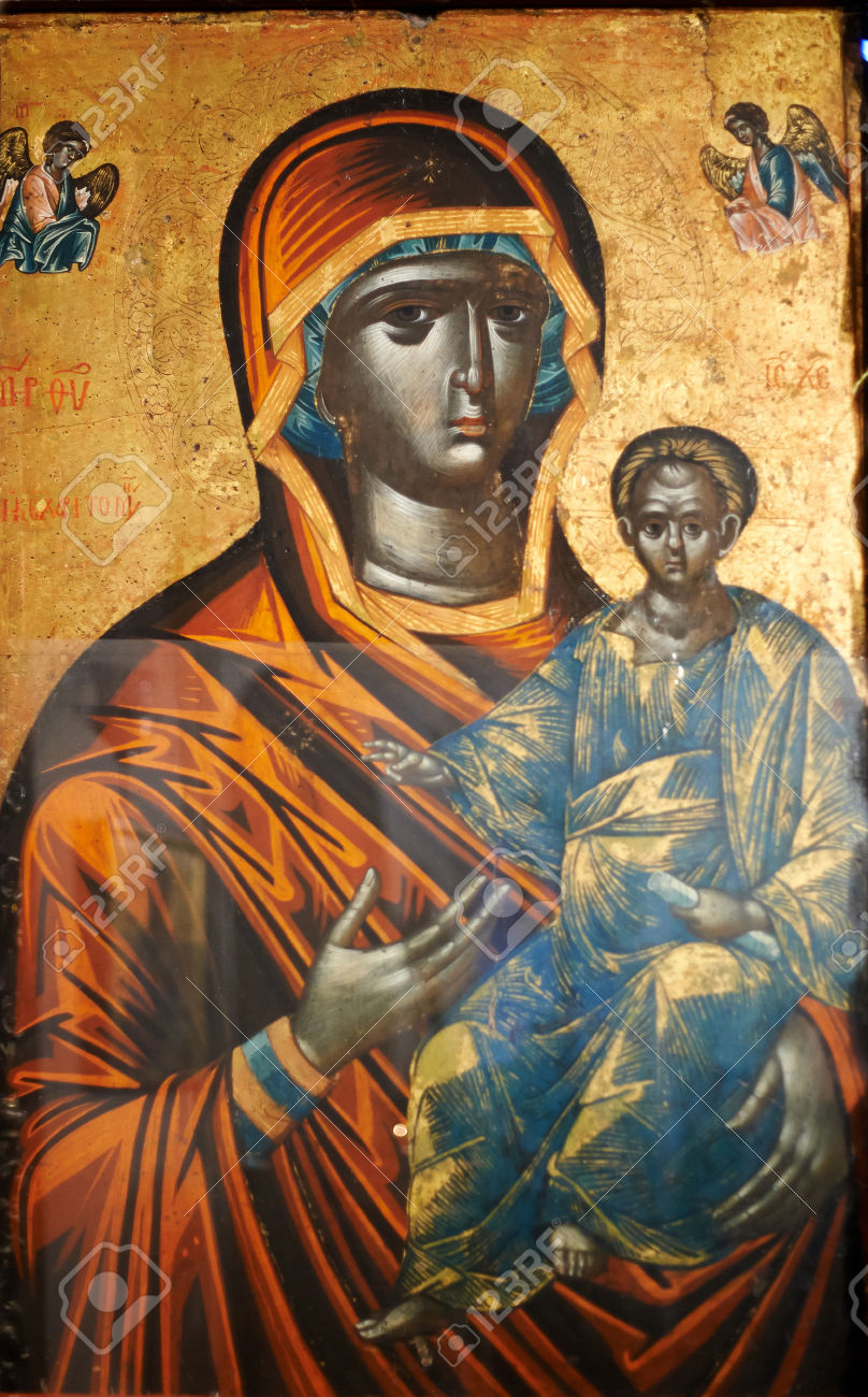 ISTANBUL - TURKEY - OCT 26: Byzantine icon of the Black Virgin. It is the only image of Virgin Mary with Jesus Christ depicted as black. Located in the Theological School of Halki and destined for countries in Africa, but never arrived there. On October 26, 2014 in Istanbul, Turkey